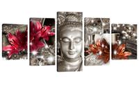 gemälde rote hintergründe großhandel-Amosi Art Wall Art Gemälde Buddha-Druck mit rotem und orangefarbenem Lilienblumen-Hintergrund für Hauptdekor-Leinwand-Grafik auf gerahmtem