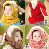 Wholesale Hooded Scarf Cute - Winter Warm Neck Wrap Dog Scarf Caps Cute Children Knitted Hats Baby Girls Shawls Hooded Cowl Beanie Caps 5 colors LJJY1102