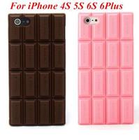 funda iphone chocolate 3d al por mayor-Para APPLE iPhone 4 4S 4G 5 5C 5S 5G 6 6G 6S Plus 2016 Ultra delgado caso de la cubierta del silicón del Chocolate 3D contraportada cajas del teléfono celular
