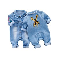 Wholesale Toddlers Romper Patterns - Little Baby Toddler Clothes Romper Jeans Jumpsuit Overalls Rompers with Cute Rainbow Giraffe Pattern Unisex