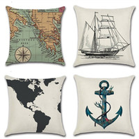 kissenbezüge nautisch groihandel-Navigation Navy Blue Nautical Shell Starfish Linen Pillow Marine Cushion Cover Sofa Piaochuang Pad Home Decoration Pillowcase