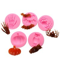 Wholesale pumpkin baking - Originality Owl Bat Sugar Cake Mould Halloween Pumpkin Magic Palm Silicone Baking Mold Heat Resisting High Quality 2hy Ww