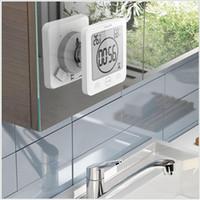 puestos de ducha al por mayor-Termómetro impermeable Higrómetro Ducha digital Soporte de pared Reloj Humedad Temperatura Función de temporizador especial