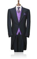 chalecos de boda para hombre negro al por mayor-Custom Men Wedding Groom Tuxedos Charcoal Best Man Suit Black Groomsman Men Wedding Suit Bridegroom (Chaqueta + Pantalones + chaleco + Corbata)
