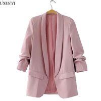 розовая корейская куртка оптовых-Wholesale-LXUNYI 2017 Spring Autumn New Korean Ladies Blazer jackets Fashion Solid Loose Casual Blazers Women Womans Suit Coats Pink White