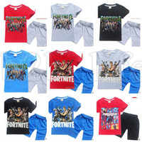 Wholesale kids brand tshirt - Summer Fortnite Kids Clothes Baby Girls Boys Shorts Cartoon Tshirt Cotton T Shirt Pants 2pcs Set Children Clothing KKA5515