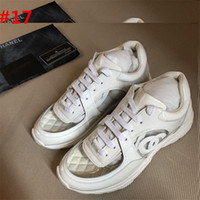 Wholesale chocolate box pvc - 2018 NewChanel Best Quality White & PVC Clear Low Top Sneakers Tennis Shoe CC Luxury brand LogoTrainer High Top Sneaker Runners With Box