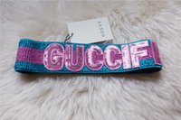 Wholesale sequin scarfs - Designer Sequins headbands Head Scarf for Women 2018 Luxury brand Striped Pink GREEN Hair Bands Headwrap Scarves Best Quality