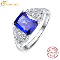 ingrosso anelli di tanzanite dei monili-Anelli di fidanzamento blu con tanzanite 3 s Emerald Cut 925 Anello in argento con zaffiro Taglia 6.7.8.9 Gioielli d'amore per le donne