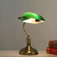 lampes de chambre en laiton antique achat en gros de-lampes de bureau bronze antique lampes de table traditionnelles lampe de lecture en verre vert lampe de bureau réglable en laiton éclairage chambre