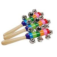 hölzerne handglocke großhandel-Surwish 1 Stück Holzstab 10 Jingle Bells Regenbogen Hand schütteln Glocke Rasseln Baby Kinder Kinder pädagogisches Spielzeug - zufällige Lieferung lernen