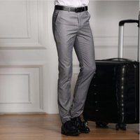 Wholesale Dark Grey Work Pants - 2018 hot Formal Wedding Men Suit Pants Slim Pure color Casual Brand Business Blazer Straight Trousers high-grade Male Work pants