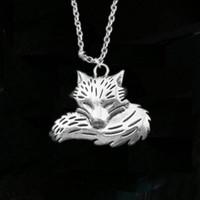 encantos da raposa para colares venda por atacado-12 pçs / lote fox pingente de colar bonito fox charme colar