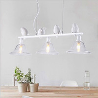 FULOC pendant lights vintage resin bird fabric lampshade for kitchen dining room