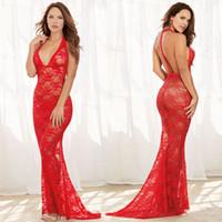 lingerie transparente vermelha venda por atacado-JiaHuiGe New Porn Mulheres Lingerie Sexy Hot Erotic Transparente Vestido Vermelho Sexy Halter Underwear Lingerie Erótica Porno Trajes D18110701