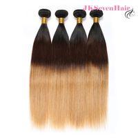 koyu köklü malezya tüyü toptan satış-Ombre 1B 4 27 Bakire Perulu İnsan Saç Uzantıları 4 Demetleri Düz Koyu Kökleri Kahverengi Bal Sarışın Brezilyalı Malezya Hint Saç atkı