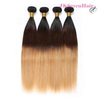 dunkle wurzeln blonde reine haare indisch großhandel-Ombre 1B 4 27 Jungfrau Peruanisches Menschenhaar Extensions 4 Bundles Gerade Dunkle Wurzeln Braun Honig Blonde Malaysische Indische Haarsträhnen