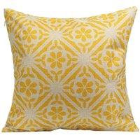 Discount linen flower cushion case - 44x44cm Cushion Home Pillow Case Cover Retro Yellow Flower Cotton Linen Back Throw Supplies Y1