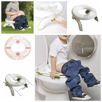 Wholesale plastic kid chairs online - 2 In Foldable Toilet Seat Infant Chamber Pots Travel outdoor Potty Seat Soft Kids Trainers Folding Travel Potty Rings baby Chair FFA1193