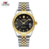 tevise роскошные мужчины оптовых-TEVISE мужчины Марка часы мода роскошные наручные часы водонепроницаемый полуавтоматический механические часы световой Спорт повседневные часы