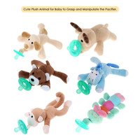 Wholesale newborn baby pacifiers - Baby Pacifier Silicone Nipple Cartoon Animal Pacifier With Soft Plush Toy Food-grade Silicone Newborn Soother Nipples BPA Free DHL
