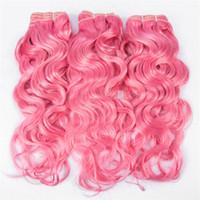24 ıslak dalgalı uzantı toptan satış-Pembe Islak ve Dalgalı İnsan Saç 3 Paket Fiyatları # Pembe İnsan Saç Pembe Su Dalga Örgü Brezilyalı Virgin İnsan Saç Uzantıları Hızlı Kargo