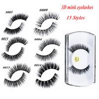 extensions de cils visons achat en gros de-100% 3D Vison Maquillage Croix Faux Cils Extension De Cils Oeil Cils À La Main Nature 15 styles pour choisir ont également des cils magnétiques