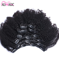 clip de cabello humano brasileño ins al por mayor-Afro Kinky Curly Clip en extensiones de cabello humano Cabello brasileño Remy 100% Clip de cabello natural humano Ins Bundle 100G 120G Ali Magic Factory