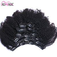 kinky clip extensions toptan satış-Afro Kinky Kıvırcık İnsan Saç Uzantıları Klip Brezilyalı Remy Saç 100% İnsan Doğal Saç Klip Ins Paket 100G 120G Ali Sihirli fabrika