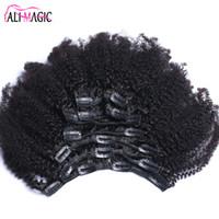 ingrosso clip di capelli umani brasiliani ins-Clip afro riccio crespo nelle estensioni dei capelli umani Brasiliano Remy capelli 100% clip di capelli naturali umani Ins bundle 100G 120G Ali Magic Factory