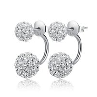 Wholesale heart disco ball for sale - New Double sided Shambala Ball Stud Earrings Diamond Crystal disco beads Earings Silver plated fine Jewelry for women girls