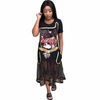 a8dcff8fd9b5f 2018 Elbiseler Lady kadınlar Yaz Mesh See Through Baskı moda seksi Bandaj  rahat gece Kulübü Hem Yüksek Uzun Maxi elbise
