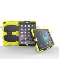 halter silikon tablette großhandel-Silikonhülle mit Halterung für Apple iPad Air 2 Kids Safe Armor Stoßfestes Hochleistungssilikon + PC-Ständer-rückseitige Abdeckung für ipad 6 Tablet + Pen