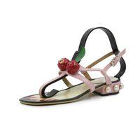 3d4f78d5cf186a Brown RED Matte Genuine Leather Brand New Women Thong Slippers Sandals  Summer Women Beach Sandals Famous Flip Flop Fllops Woman Shoes