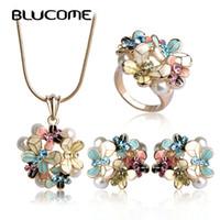 Wholesale blue enamel flower earrings - Blucome Simulated Pearl Enamel Jewelry Sets Blue Flower Necklace Earrings Ring Set For Women Bridal Bijoux Wedding Accessories