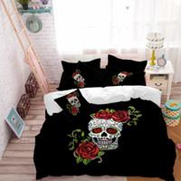 skull bedding toptan satış-Gül Kafatası Yatak Seti Çiçekler Şeker Kafatası Nevresim Yatak Çarşafları Düz Levha Kral Kraliçe Yatak Set Yumuşak Yatak Örtüsü Yastık Kılıfı D30