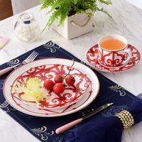europäischer stil knochen porzellan gesetzt großhandel-European Style Keramik Geschirr Set Bone China Mode Red Design 4pcs Geschirr Sets Striped Dinner Set Housewarming Luxus Geschenke