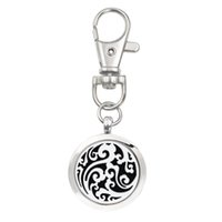 Wholesale Essentials Girls - Round cloud Essential Oil Aroma Diffuser Perfume Locket with Lobster clasp Keychain keyring With 5pcs free Pads color randomly K01-K10