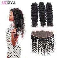 Wholesale Pics Natural - 8A Unprocessed Brazilian Virgin Human Hair Extensions 3 Pics Mink Deep Wave With Lace Frontal 100% Unprocessed Virgin Hair Wholesale Price