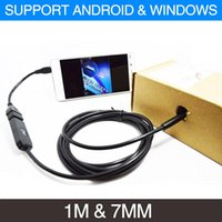 Wholesale camcorder video cable - 2017 New 1m Cable 7mm Lens Micro USB Android Endoscope Camera Snake Pipe Inspection Camera Waterproof OTG Video Camcorder