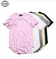 Wholesale Flashing Tshirts - Wholesale- Kanye West Extended T-Shirt Men 2016Summer Curved Hem Longline Hip Hop Tshirts Urban Blank Mens Tee Shirts Justin Bieber Clothes