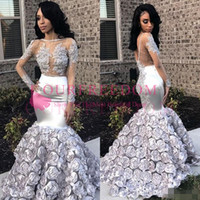 Wholesale africa flowers - 2018 Glamorous Sexy Silver Mermaid Prom Dresses Jewel Neck Beads Lace Appliques Sheer Long Sleeve Backless South Africa Evening Party Dress
