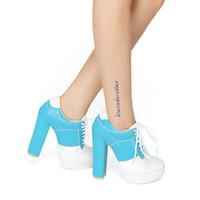 ingrosso stivaletti bianchi di caviglia-Stivaletti da donna Legzen New Elegant Chunky Tacchi alti Stivali BlueWhite Shoes Donna Plus taglia US 4-10.5