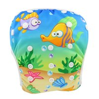 Wholesale Nappies Patterned - Waterproof Swim Diaper Cover 2018 Animal Patterns Reusable Diaper Printed Diapers Nappy Cover For Baby Reusable Cloth Nappies