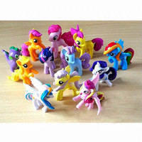 Wholesale my little pony - 12 Set Hot My little Pony Sprot Meeting Action Figures inch Doll Cartoon Movie figurine ponies kids Toy Gifts Cake Topper Xmas Gift