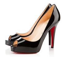 ingrosso tacchi gialli di gattino-18 Moda peep toe tacchi alti designer due colori fondo rosso scarpe sexy bocca superficiale suola tacco alto donne abito da sposa scarpe