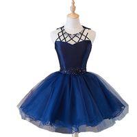 mavi yarı cüppe toptan satış-Gerçek Lacivert Mezuniyet Elbiseleri Kısa Gelinlik Modelleri 2018 Boncuklu Kristal Kısa Balo Yarı Örgün Elbise Mezuniyet Kokteyl Parti Elbiseleri