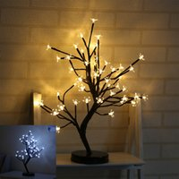 Wholesale night light flower pot resale online - LED Decorative Lamp Simulation Plum Blossom Potted Plant Artificial Flowers Night Light For Christmas Party Wedding Decorations yd UU