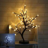 ingrosso pot di decorazione di fiori artificiali-LED Lampada decorativa Simulazione Plum Blossom Fiori in vaso Fiori artificiali Luce notturna per la festa di Natale Decorazioni nuziali 38yd UU
