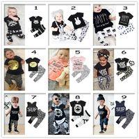Wholesale baby clothing harem set resale online - 36 colors Ins Hot Baby Clothes Letter Print Boys Suits Girls Outfit Summer Sets New Cotton T Shirt Tops Harem Pants leggings Cloth Set